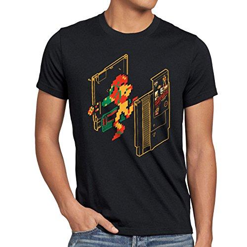 A.N.T. Retro Samus Herren T-Shirt Classic Gamer Switch NES 8-Bit, Farbe:Schwarz, Größe:5XL