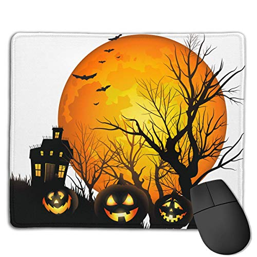 Halloween Moon Pumpkin Novelty Gaming Mouse Mat 3D Printed Non-Slip Smooth Rubber Mousepad Pinpoint Accuracy (7''X 8.7'')