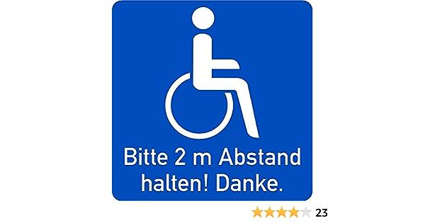 Lemax Aufkleber Rollstuhlfahrer Innen Klebend Bitte 2m Abstand Halten 100x100mm Baumarkt