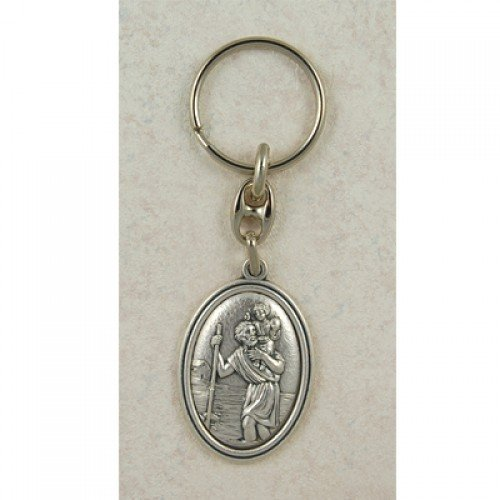 Saint Christopher Italian Silver OX Key Ring Chain, Excellent Craftsmanship and Made in the USA (760-61) by McVan, Inc. - In 'made Usa