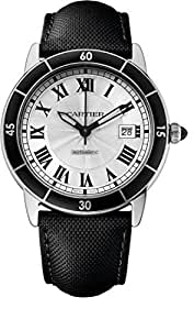 CARTIER MEN'S RONDE CROISIERE 40MM BLACK LEATHER BAND AUTOMATIC WATCH WSRN0002