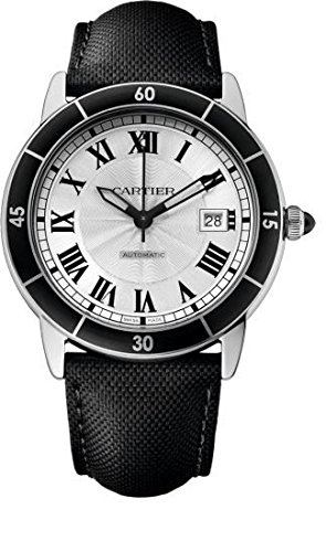 CARTIER MEN'S 42MM BLACK CANVAS BAND STEEL CASE AUTOMATIC WATCH WSRN0002