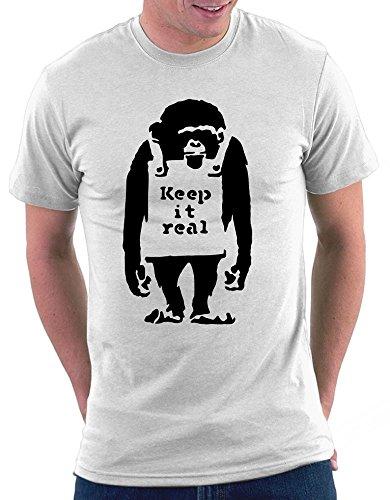 Banksy Keep It Real T-shirt Weiß
