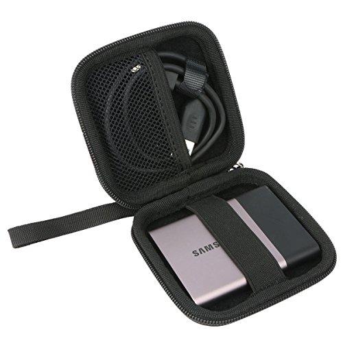 Khanka Schutz Reißverschluss Aufbewahrungstasche Travel Hard Case Cover Tasche für Samsung T1/T3Portable 500GB USB 3.0externe SSD-Schwarz 3 Hard Case Travel Cover