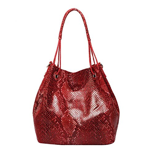 Snake Embossed Python Bag In Pelle Borsa A Tracolla Delle Donne Red