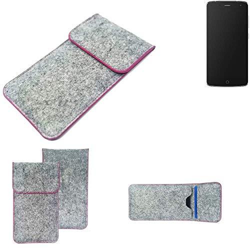 K-S-Trade® Filz Schutz Hülle Für -Alcatel Flash- Schutzhülle Filztasche Pouch Tasche Case Sleeve Handyhülle Filzhülle Hellgrau Pinker Rand
