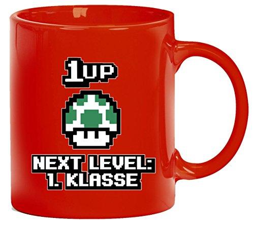 Einschulungsgeschenk Erstklässler Schulkind bedruckte Kaffeetasse Bürotasse mit Spruch Motiv Retro Gamer 1 Up Pilz - Next Level 1. Klasse, Größe: onesize,rot