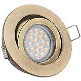 LED Einbaustrahler Set EXTRA FLACH (35mm) in Messing mit LED Markenleuchtmittel von LEDANDO - 5W DIMMBAR - 3.000 Kelvin warmweiss - 60° Abstrahlwinkel - schwenkbar - 50W Ersatz - tauschbares Leuchtmittel