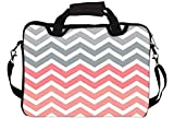Snoogg Frequency Polyester Canvas Pink and Grey Laptop Sleeves with Shoulder Strap