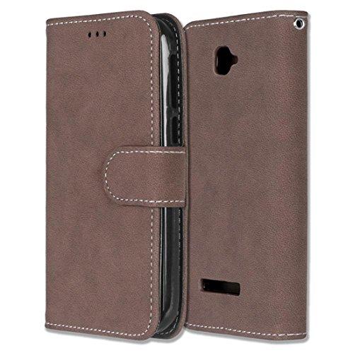 Alcatel One Touch Pop C7 Hülle, Chreey Matt Leder Tasche Retro Handyhülle Magnet Flip Case mit Kartenfach Geldbörse Schutzhülle Etui [Braun]