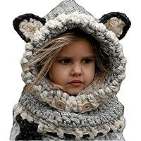 ARAUS-Bonnet Chaud Chapeau Cagoule Renard Bebe Enfant Echarpe Hiver Automne  en Laine Tricote 067367a02a2