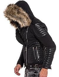 BLZ jeans - Blouson noir zips effet cuir capuche fourrure beige
