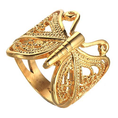 Quoouz Frauen Schmuck Tier Butterfly Titan Stahl Ringe,Gold,Größe 49(15.6) -
