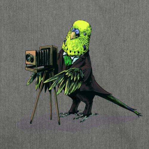 Wellensittich Fotograf Schultertasche aus Recycling-Material von Spreadshirt® Dunkelgrau Meliert