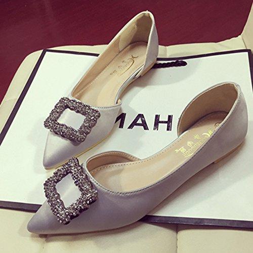 XAH@ Boucle de strass à pointe féminin coupe satin chaussures plates gray