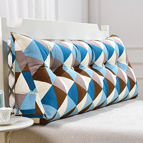 Dossier De Chevet Bleu Carré Triangle Sofa Coussin Coussin de tête de lit Design ergonomique Dossier et la taille Couverture lavable environnementale avec 3D High-élastique de coton perlage de remplissage ( taille : 70cm(2 Buttons) )