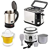 BMS Lifestyle Multi-Function Electric Rice Cooker 600ml, 2-Slice Big Pop-up Toaster, Electric Kettle and Citrus Juicer, 4-Pcs Set