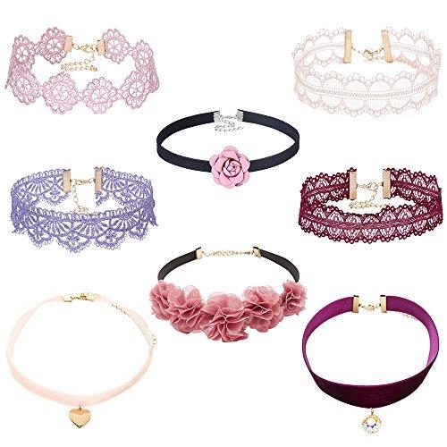 MingJun Pack von 8 Multicolor Lace Samt Choker Halskette Set Rosa Blume Choker mit Liebe Herz Anhänger Charm Kragen