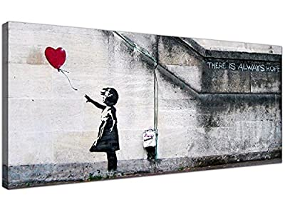 "Large Canvas Prints of Banksy's ""Girl with the Red Balloon"" for your Dining Room - Graffiti Wall Art - 1050 - Wallfillers®"