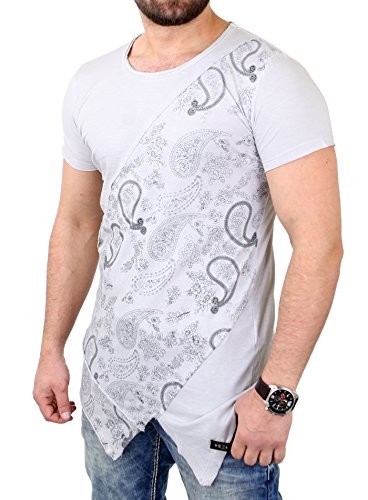 Tazzio T-Shirt Herren Cross-Cut Oversized Bandana Pattern Shirt TZ-15134 Grau