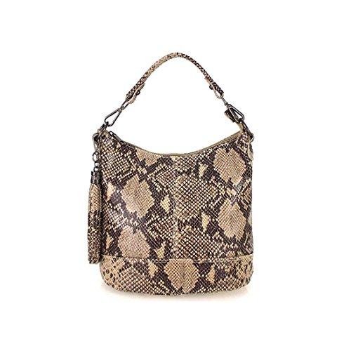 Damen Echtleder Tasche Handtasche Schultertasche City Bag Cross-Over Umhängetasche Henkeltasche Ledertasche Damentasche Schlangen-Prägung Python Muster Fransen Anhänger Taupe