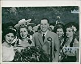 Fotomax Vintage Photo of Argentine President Juan Peron Surrounded by Santiago Girls in Chile