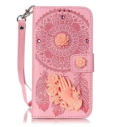 iPhone 7 Plus Coque ( Noir ), Bling Cristal Strass Cuir Etui Rabat Style Portefeuille Case Avec Carte Slots pour Apple iPhone 7 Plus 5.5 inch Avec 3D Rose Main Fleur soulagement rose