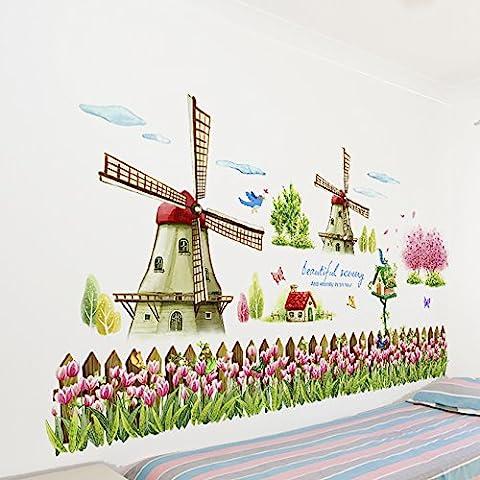 Mulino a vento giardino parete adesivi scuola materna aula della decorazione parete , 1 , big