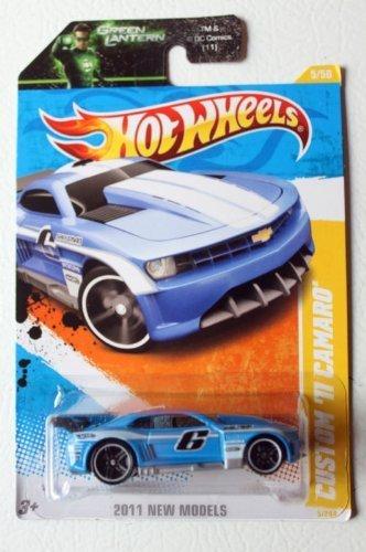 Hot Wheels 2011 Hot Wheels 5/244 - 2011 New Models - Custom '11 Camaro (Blue) on Green Lantern Card (added green lantern card) by Mattel
