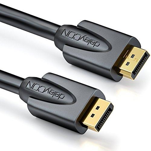 deleyCON 2m DisplayPort Kabel - 4K / 2160p / 3D / HDCP - DP (20 pin) Stecker auf DP (20 pin) Stecker - vergoldet - Schwarz