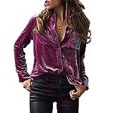 Damen Langarm , Frashing Damen New Mode Langarmshirts V-Ausschnitt Einfarbig Bluse Locker Basic Casual T-Shirt Oberteil Solides Samt Langarm T-Shirt (L, Lila)