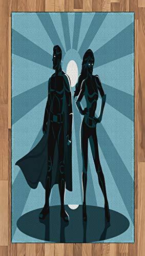 (ABAKUHAUS Superheld Teppich, Unisex Kostüm Cape, Deko-Teppich Digitaldruck, Färben mit langfristigen Halt, 80 x 150 cm, Teal Blau)