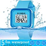 Diadia Watchband Kinder Uhr, diadia SYNOKE Multifunktions-50 m Wasserdicht LED Digital Double Action Watch Geschenke für Kinder Jungen Mädchen Geburtstag Geschenke, blau