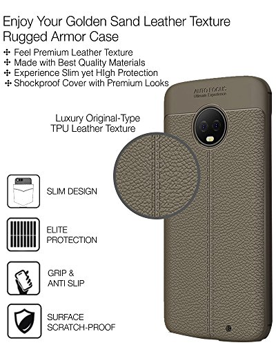 new styles 0a6fc ee6e3 Golden Sand Moto G6 Plus Case Premium Leather Texture Series ShockProof  Armor TPU Back Cover Case for Motorola Moto G6+ Plus Mobile Cover,Lunar Grey
