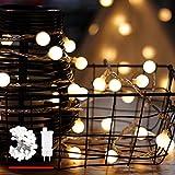 Catena Luminosa, di myCozyLite®, Luci Natalizie da Esterno ed Interno, Globo Bianco Caldo, 15M, Luci Stringa Impermeabili Decorative con 100 LED, Trasformatore a Bassa Tensione DC 31V, Espandibile