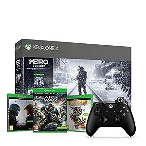 Microsoft Xbox One X, schwarz – Metro Exodus Bundle + Xbox Wireless Controller, Schwarz