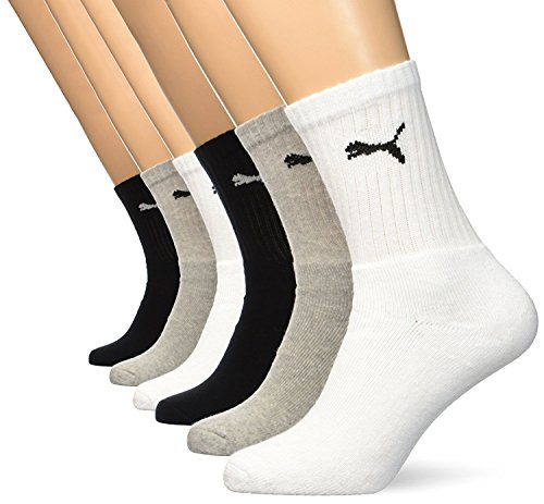 Puma Unisex Sportsocken Cush Crew 6er Pack (Grey/White/Black,, L=Gr. = 43/46 - 6 Paar) (Socken Running Crew Athletic)
