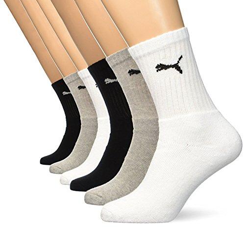 Puma Unisex Sportsocken Cush Crew 6er Pack (Grey/White/Black,, L=Gr. = 43/46 - 6 Paar) (Crew Athletic Socken Paar 6)
