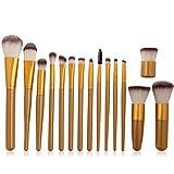 Malloom® Make up Pinsel 15-tlgs Schmink rosa Pinselset etui Schmink Kosmetik Lidschatten Gesichtspinsel (braun)