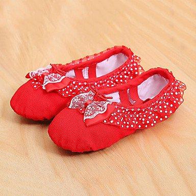 Wuyulunbi@ Donna piena di balletto suola Sneaker Professional tacco piatto rosa rosso US2.5 / UE32 / UK1 / CN31