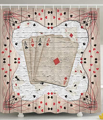 SRJ2018 Casino Dekoration Poker Liebhaber Design Spieler Zubehör Las Vegas Poker Männer Glücksspiel Dekoration Projekt Badezimmer Glück Dekoration für Männer Spaß Duschvorhang Zhu Hong Kohle
