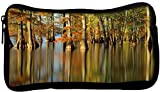 Snoogg Water In Forest Poly Canvas Student Pen Pencil Case Coin Purse Utility Pouch Cosmetic Makeup Bag