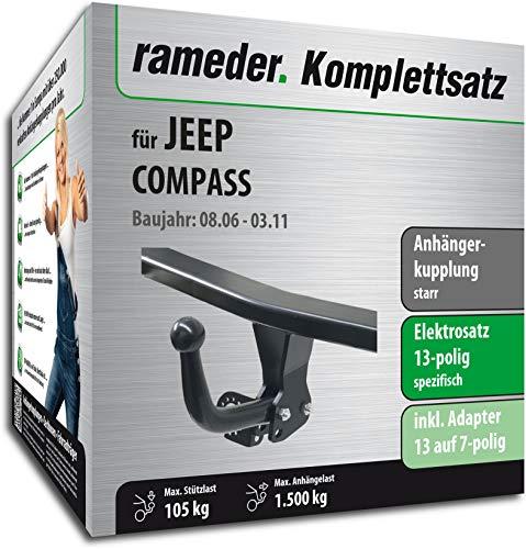 Rameder Komplettsatz, Anhängerkupplung starr + 13pol Elektrik für Jeep Compass (114277-05605-1) (Compass Jeep Anhängerkupplung)