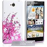 Yousave Accessories HU-AW01-Z747 Coque en gel/silicone pour Huawei Ascend G740 Motif Floraux Abeille Rose/Blanc