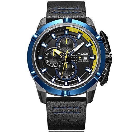 Homme chronographe analogique montres à quartz Aiguilles lumineuses 3ATM étanche Sport Montre-bracelet pour homme garçon