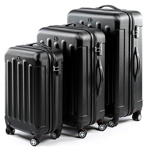 FERGÉ Set di tre valigie LYON - bagaglio rigide duro da 3 - tre pz. valigie con 4 ruote (360) - pelle black