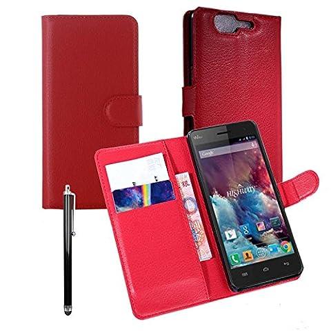 Owbb® Flip Housse Étui Coque de protection en PU cuir pour Wiko Highway 3G/4G Smartphone - Rouge