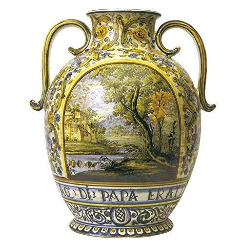 Vase Amphore Orcio handbemalt Keramik Kunstdruck von Castelli Italien H cm 40Serie Aulica