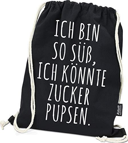 Hashtagstuff® Turnbeutel mit Sprüchen Designs auswählbar Kordel Schwarz Spruch Rucksack Jutebeutel Sportbeutel Gymbag Beutel Hipster Zucker