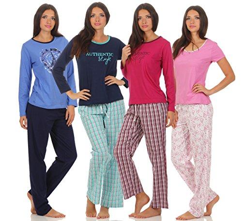 Langer Damen-Pyjama Schlafanzug Nachtwäsche in verschiedenen Modellen �?warme leichte Baumwolle �?Trends 2017 �?Grösse 36/38 bis 48/50 lieferbar pink mit Motiv & Hose anthrazit